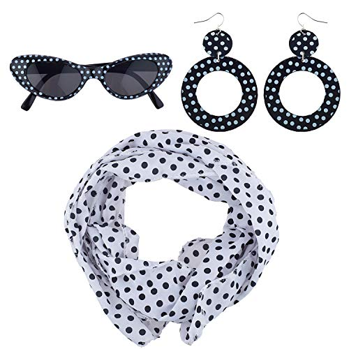 Lux Accessories Halloween Girls Fun Black White Polka Dot Sunglasses Scarf Earrings 50's Costume ()