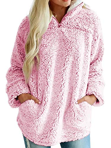 (Chartou Women's Warm Fuzzy Sherpa Fleece Quarter-Zip Pullover Sweatshirts Outwear (Pink, Medium))