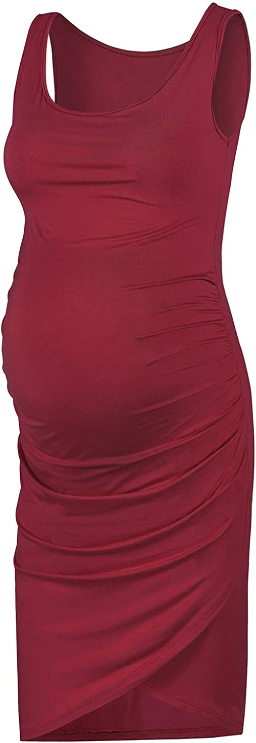 Rnxrbb Women Summer Maternity Dress Sleeveless,Bodycon Maternity Ruched Tank Dress Work Pregnancy Clothes Midi Length,Red-L