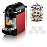 Nespresso D60USDRNE Pixie D60 Carmine Espresso Machine Dark Red + Swissmar 10 Capstore Wave for Nespresso Capules + Accessory Kit
