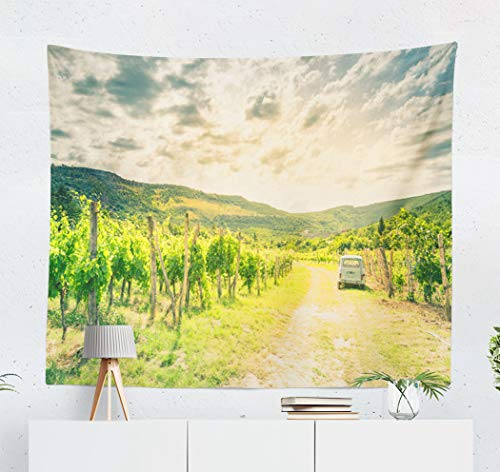 (Yeelg Vintage Car Tapestry, Wall Hanging Tapestry Vineyard and Vintage Car Wine Agriculture Country Wall Tapestry Dorm Home DÃcor Bedroom Living Room in 60