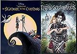 Pumpkin Jack Skellington Visionary Director Tim Burton Edward Scissorhands DVD + Nightmare Before Christmas Disney Animated Musical Fantasy 2 film Double Feature Bundle