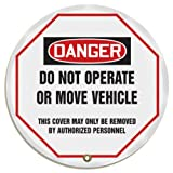 "Accuform KDD824 STOPOUT Vinyl Steering Wheel Message Cover, OSHA-Style Legend ""DANGER DO NOT OPERATE OR MOVE VEHICLE - THIS COVER MAY ONLY BE REMOVED BY AUTHORIZED PERSONNEL"", 20"" Diameter, Red/Black on White"