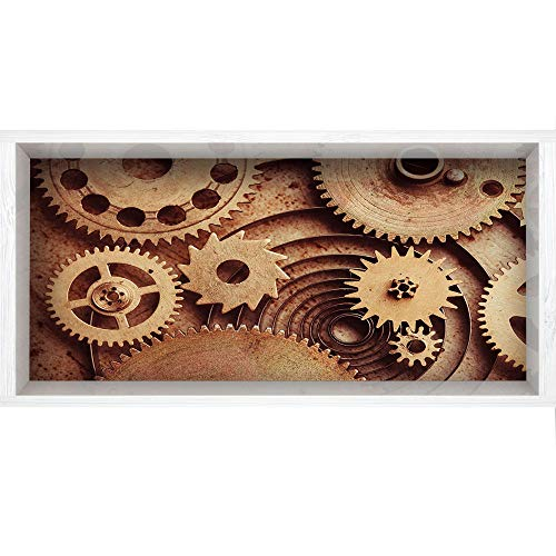 Mechanical Copper Clock (3D Depth Illusion Vinyl Wall Decal Sticker,47.2