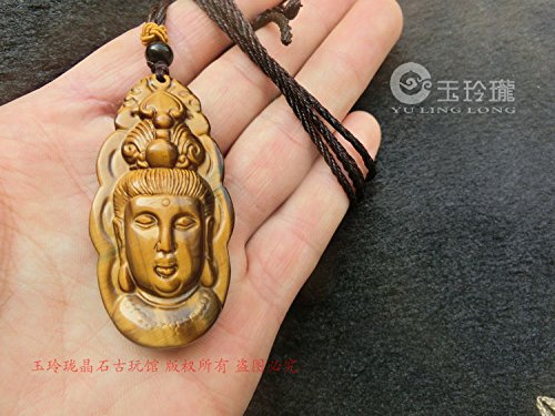 Tiger eye Shihuang Hu eye carved stone eagle eye necklace pendant Goddess Mercy Guanyin head spar necklace pendant for security and peace