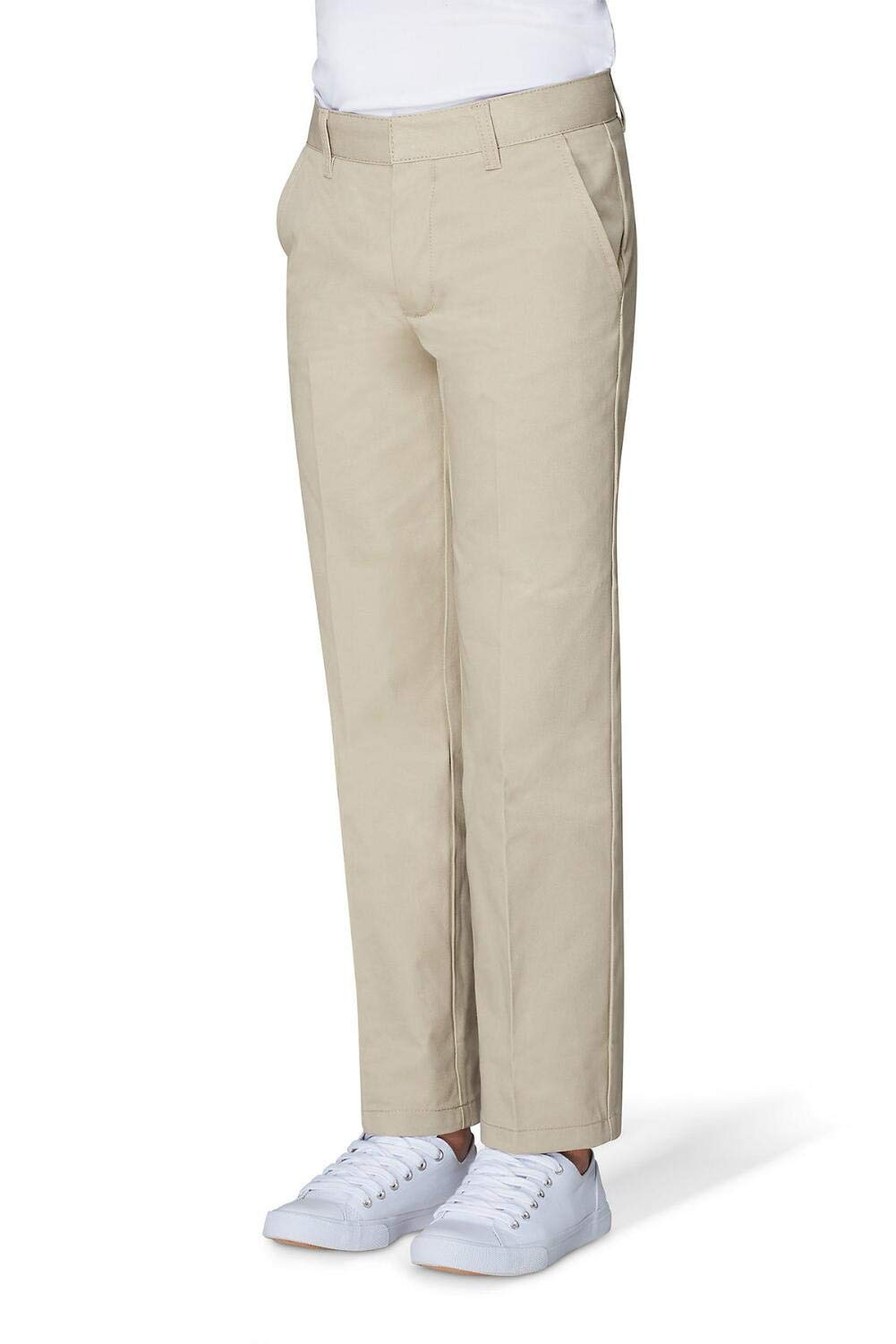 French Toast Little Boys' Flat Front Double Knee Pant with Adjustable Waist, Khaki, 6