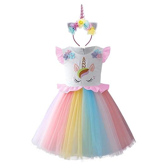 4d92ee71e9d39 Amazon.com: Toddler Baby Flower Girls Unicorn Tutu Pageant Dress Up ...