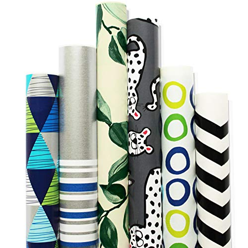 (Wrapping Paper - 6 Roll-30Inch X 10Feet Per Roll-Design for Birthday, Mother Day, Valentines Day, Wedding, Baby Shower, Christmas-Gift Kraft Wrap (04-Gift Wrapping Paper))