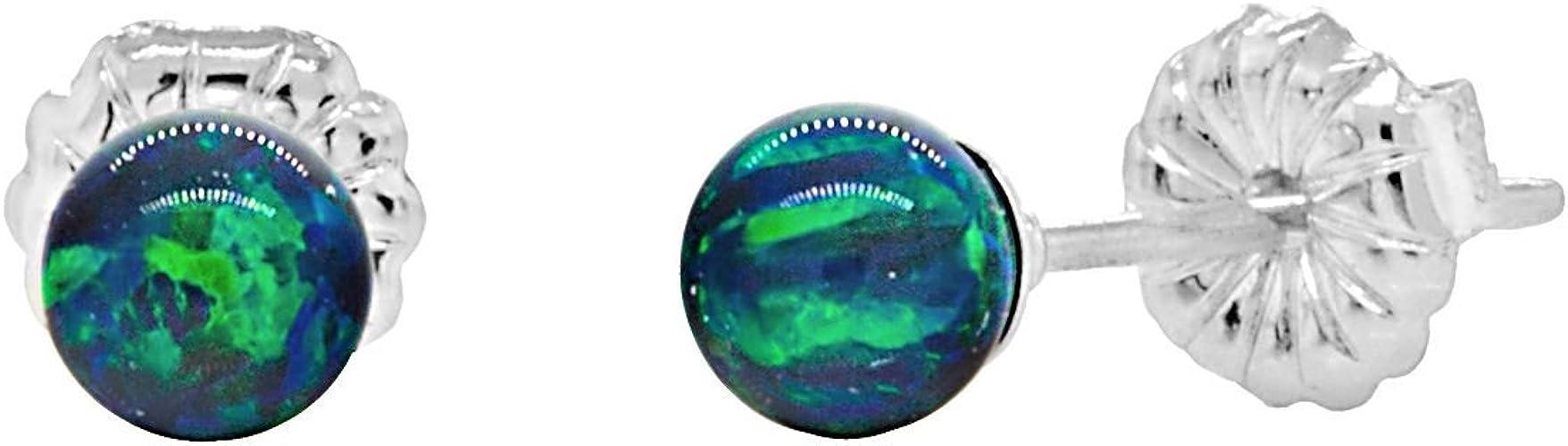 Trustmark 925 Sterling Silver 4mm Created Opal Ball Stud Earrings