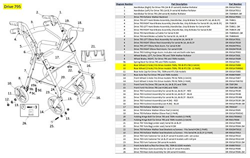 Drive Medical 3-Spoke Wheel for 750nb D-lite Rollator, 1 Pound -