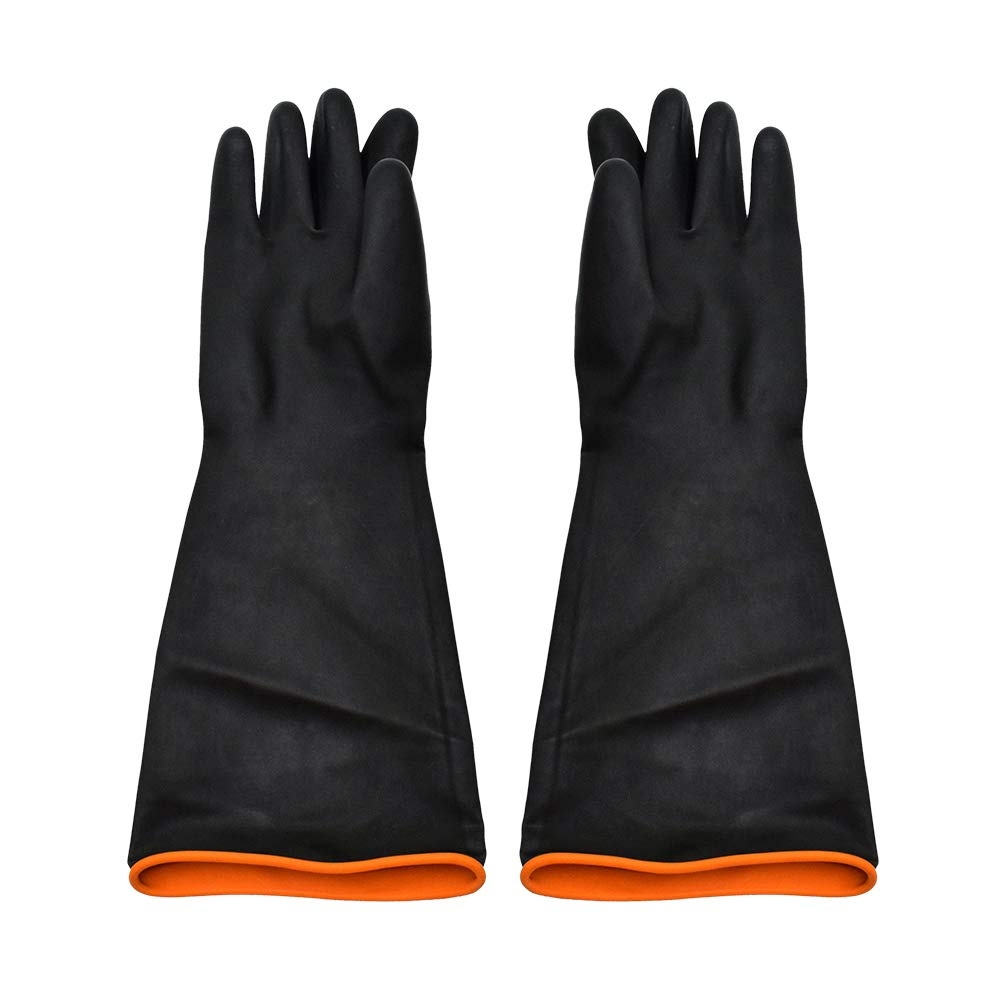 Chemical Resistant Gloves, ToAuto Cleaning Protective Heavy Duty Industrial Gloves Natural Latex, Resist Strong Acid, Alkali and Oil (1 Pair) (22'')