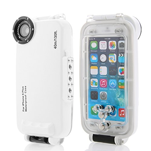 Moonmini MEIKON 40m 130ft Rated Dive Professional Submersible Underwater Photo Video Camera Waterproof Housing Diving Swimming Protective Case Cover for iPhone 6 Plus 5.5 inch with Lanyard (White)