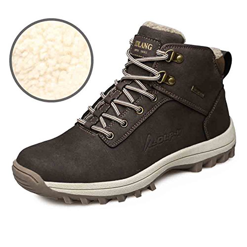 LUWELL Mens Leather Snow Boots Lace up Ankle Sneakers High Top Winter Shoes with Fur Lining(Dark ()