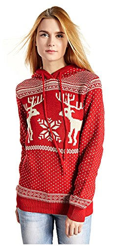 Women's Patterns of Reindeer Snowman Tree Snowflakes Christmas Sweater Cardigan (L, Red with Hood)]()