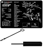Original Glock Factory SP00490 Cleaning Bore Barrel Rod for Patches & Brushes, Fits All Models + Ultimate Arms Gear Disassembly 3/32 Punch Armorers Gunsmith Tool + Schematics Work Bench Gun Mat