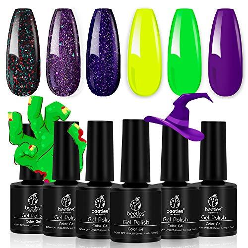 Beetles Gel Nail Polish Set, Halloween Black Glitter Purple Green Yellow Kit, Soak Off UV Nail Lamp LED Cured, 7.3ml Each Bottle for Nail Art Design