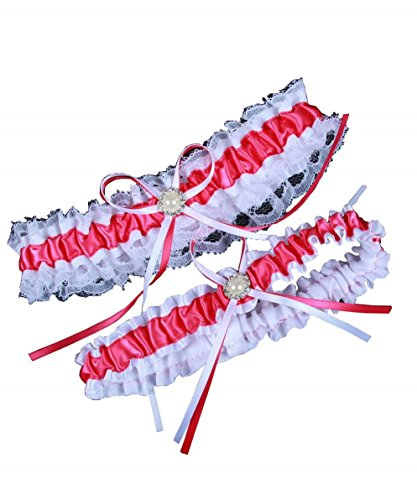 Miranda's Bridal Women's Lace Edge Satin Bridal Garters Wedding Garters Hot (Hot Pink Wedding)