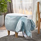 Rahele New Velvet Elephant Ottoman (Light Blue)