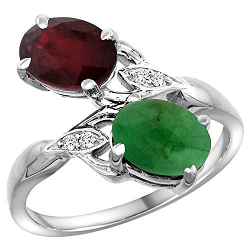 Gold And Emerald Cabochon Ring (10K White Gold Diamond Enhanced Genuine Ruby & Natural Cabochon Emerald 2-stone Ring Oval 8x6mm, size 8.5)