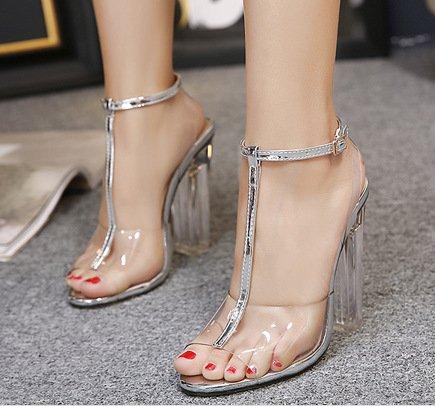 ZHUDJ Peep Toe Heels Peep Toe Heels Sandalias Parte,Plateadas,38 Thirty-eight|silvery