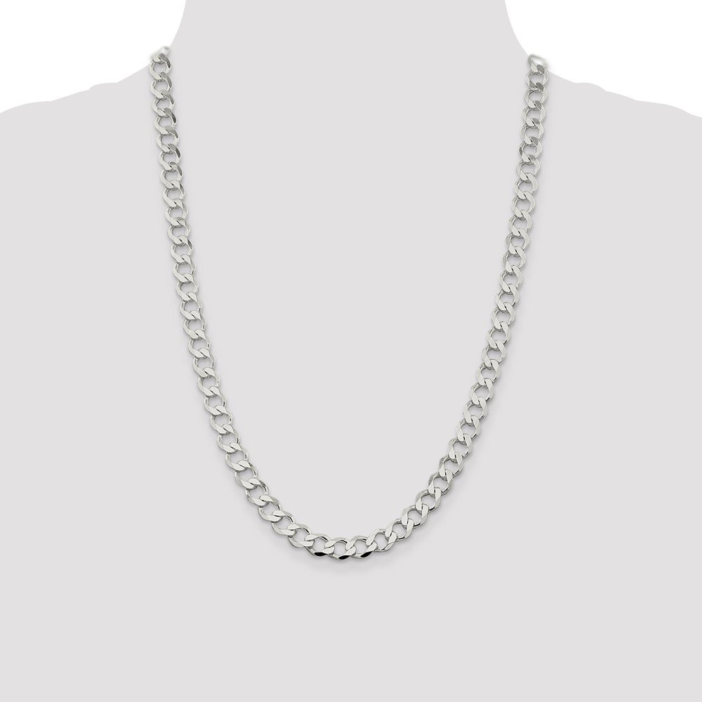 925 Sterling Silver Lightweight Flat Curb Chain Necklace