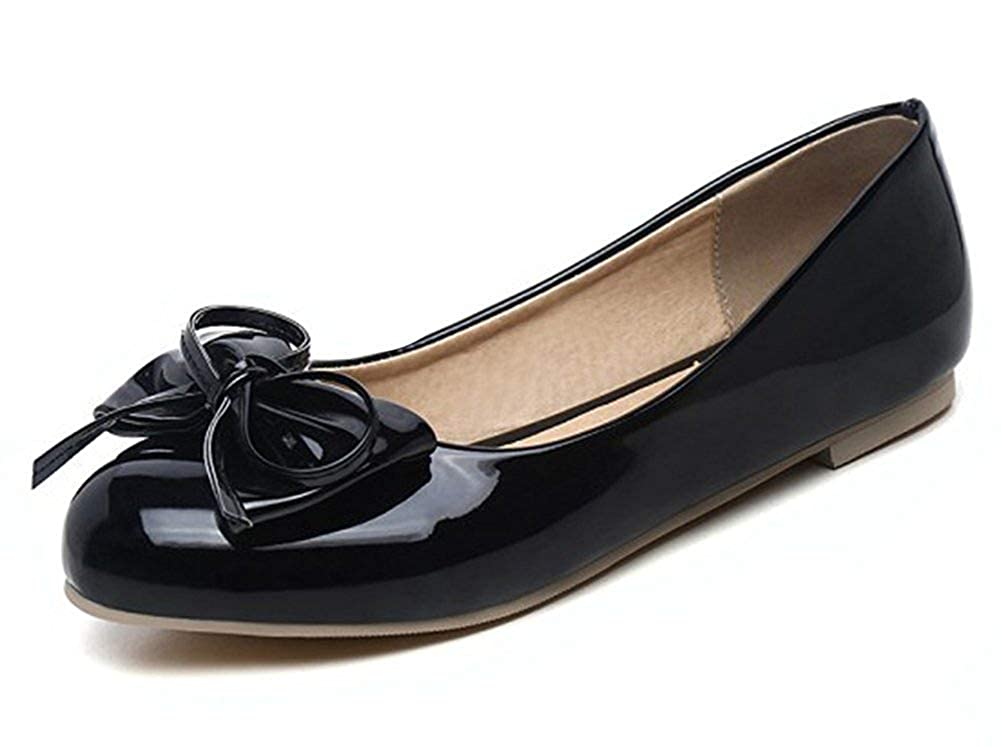 Unm Womens Cute Bowknot Low Cut Round Toe Wear to Work Slip On Flats Driving Shoes