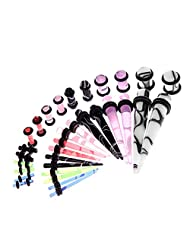 Taper Kit Marble 14G-0G Tapers and Plugs Stretching Set 32 Pieces