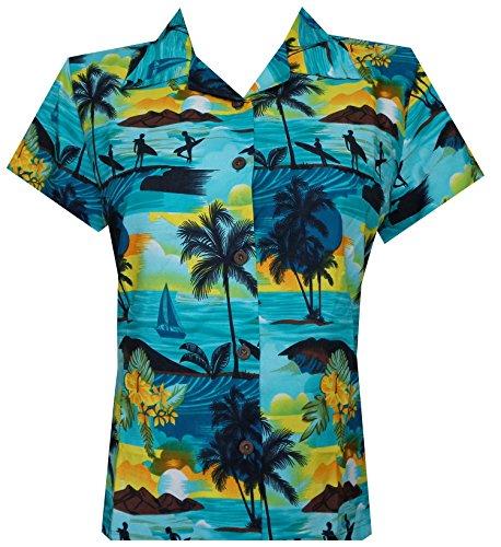 Hawaiian Shirt 43W Women Allover Aloha Beach Camp Swim Top Blouse Turquoise S