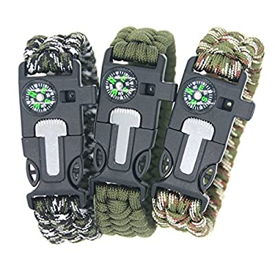 3Bears Outdoor Survival Paracord Bracelet With Compass Fire Starter And Emergency Whistle(Pack of 3)