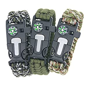 3 Bears BoyScout Outdoor Survival Paracord Bracelet With Compass Fire Starter And Emergency Whistle