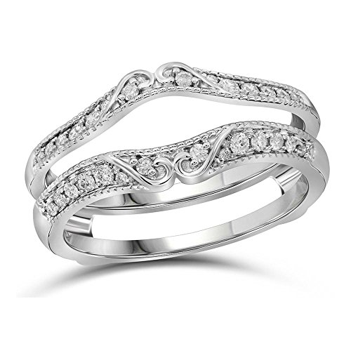 Jewels By Lux 14kt White Gold Womens Round Diamond Ring Guard Wrap Solitaire Enhancer 1/4 Cttw Ring Size 6 (Solitaire Ring Wraps Diamond)