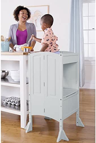 Guidecraft Heartwood Kitchen Helper Stool - Gray W/Keeper and Non-Slip Mat: Adjustable Counter Height Step Up, Folding Safety Cooking Step Stool for Toddlers - Little Kids Learning Furniture