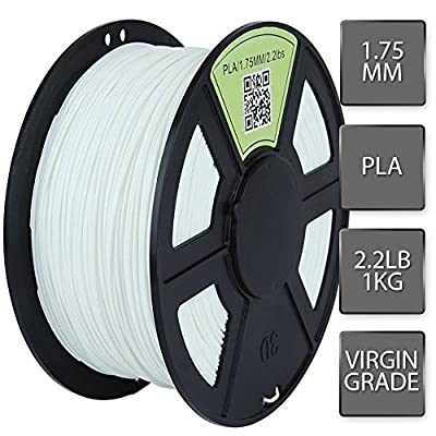WYZworks 3D Printer Filament 1.75mm PLA Thermoplastic Polylactic Acid 1kg 2.2lb [ White ]