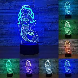 Enfants Cadeau du Jour de La Petite Sirène Princesse 7 Changement de Couleur 3D LED Bébé Night Light Lampe De Bureau Décor À La Maison partie Enfants Jouets 10