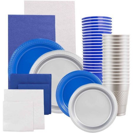Grad Party Supply Assortment Pack, Plates, Napkins, Cups, Tablecloth, Blue and Silver by Generic