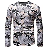 SNOWSONG Men's Slim Fit Luxury Printed Long Sleeve Crewneck T-Shirts Tops Round Neck Shirts White