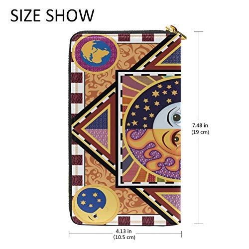 Sun And Ethnic Organizer And Wallet Clutch TIZORAX Womens Moon Zip Around Handbags Purses 5BHfUwnq8