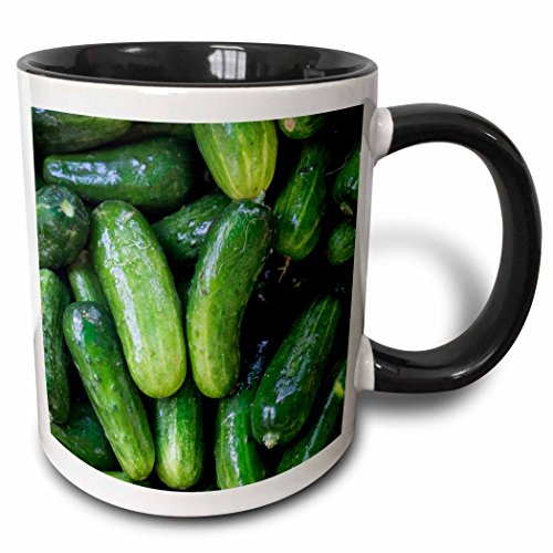 3dRose Danita Delimont - Vegetable - Pickling Cucumbers at Farmers Market, Charleston, South Carolina. - 11oz Two-Tone Black Mug (mug_251392_4) (Farmers Market Mug)