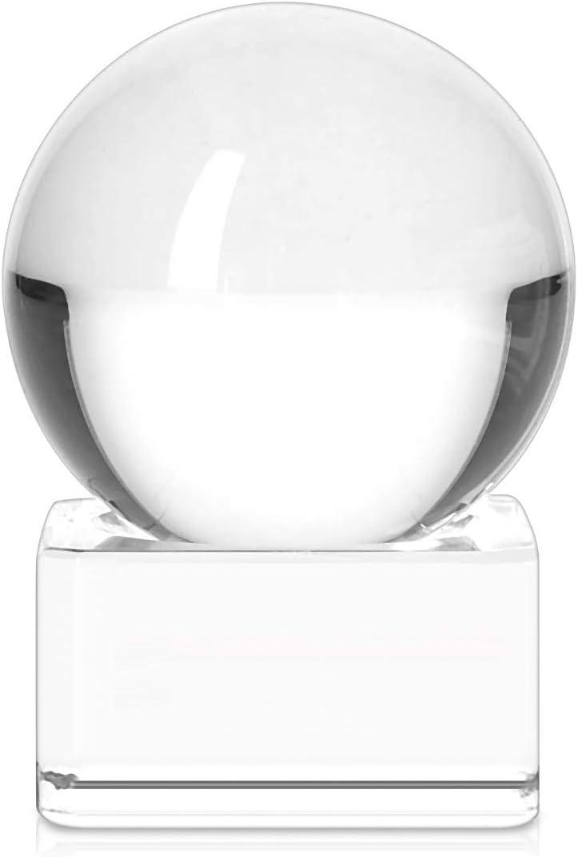 Navaris Bola de Cristal para fotografía - Esfera con Soporte - Bola de Vidrio K9 Transparente para decoración - Ø 40MM