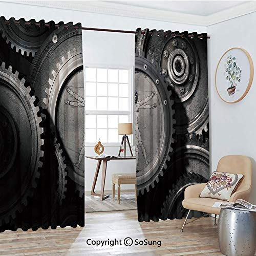 Thermal Insulated Blackout Patio Door Drapery,Wheels of The System with Medieval Old Human Body Animation Device Gears of The Whole Theme Room Divider Curtains,2 Panel Set,100