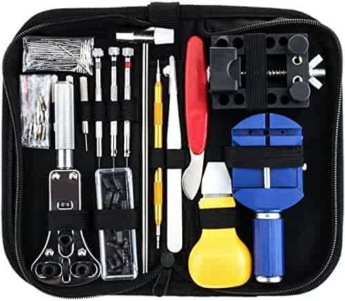 Watch Repair Kit Professional 147 PCS Watch Battery Replacement Spring Bar Tool Set, Link Remover Watch Band Pin Back Case Opener Tools Jewelry Repair kit
