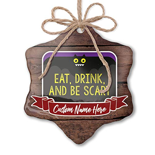 NEONBLOND Custom Family Ornament Eat, Drink and Be Scary Halloween Funny Bat Personalized Name]()