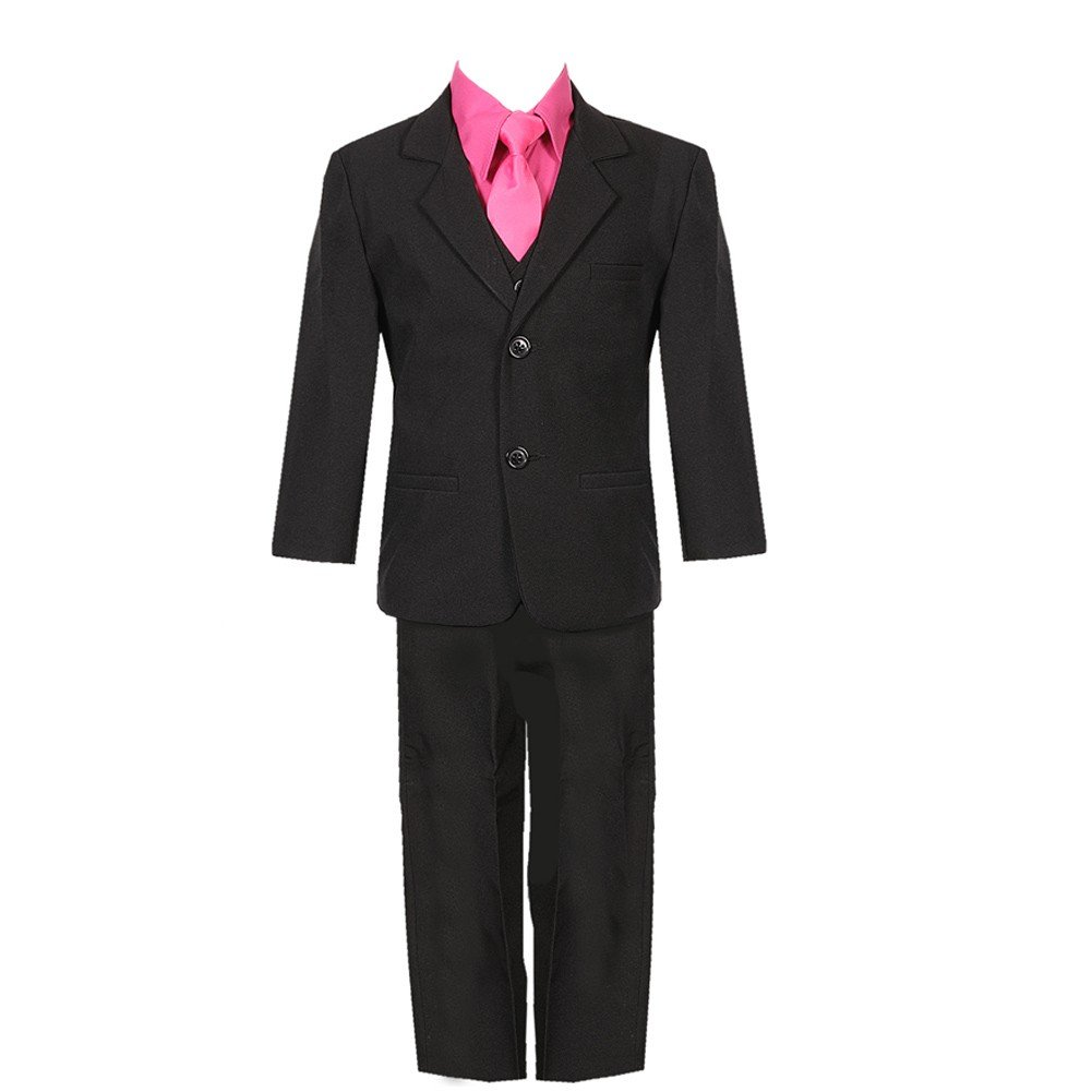 Rafael Collection Baby Boys Black Fuchsia 5 Piece Vest Jacket Pants Special Occasion Suit 12-24M