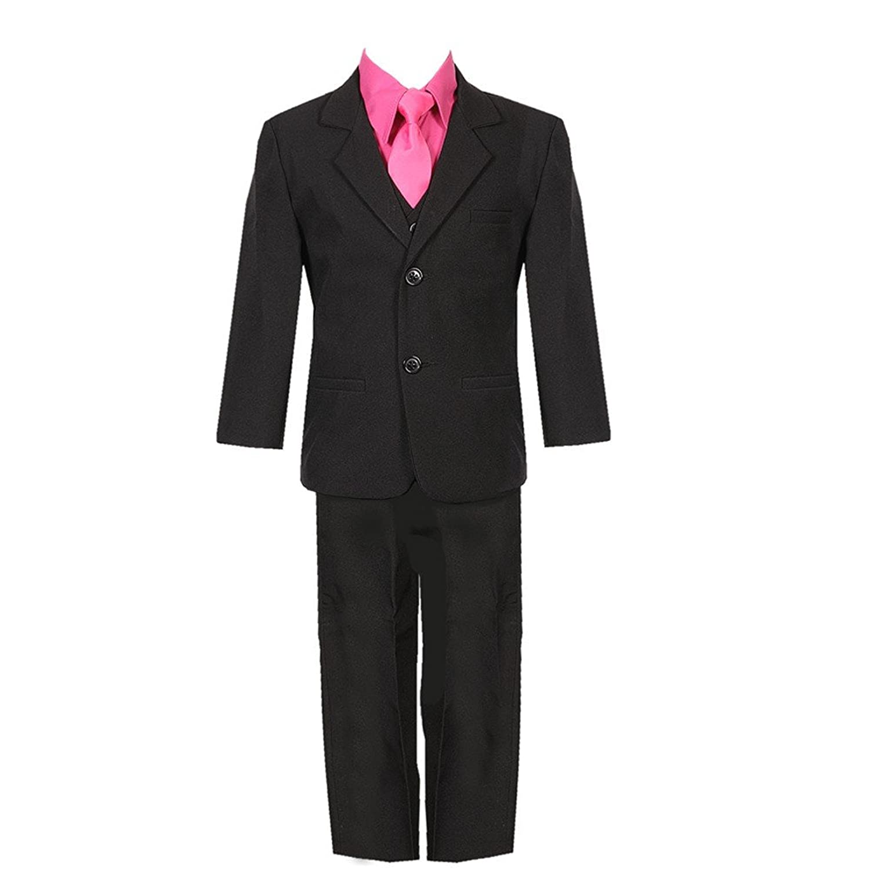 nice Rafael Collection Baby Boys Black Fuchsia 5 Piece Vest Jacket Pants Special Occasion Suit 12-24M supplies
