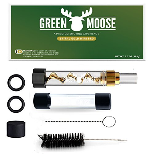 Green Moose (Bundle Spiral New Blunt- For Dry Herbs Paper | 1x Quartz Glass - 1.5 GM | 1x Mouth Pc | 4x O-Rings | 2x Rubber Caps | 1x Small Cleaning Brush | 1x Big Cleaning Brush | Great Gift)