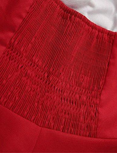 VKStar®Retro 1950s Cabestro Cuello Pin-up Oscilación Vestido de Cóctel Mujer Ropa Rockabilly Puro Rojo