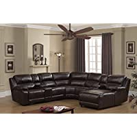 AC Pacific Colton 7 Piece Dark Brown Leather Power Reclining Sectional with storage Console and Chaise