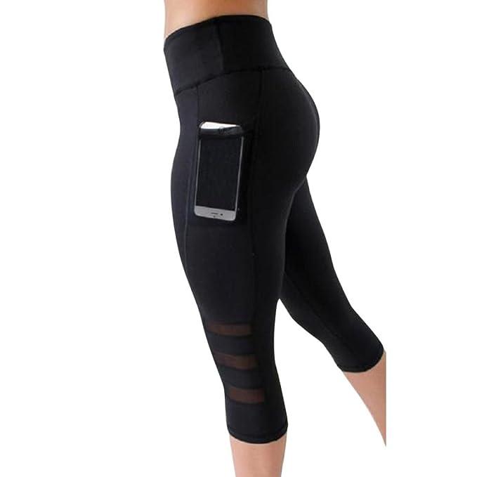 Mesh Women Yoga Pants High Waist 3//4 Length Side Pocket Leggings