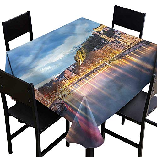 (home1love European Stain Resistant Square Tablecloth Saone River Lyon City for Square and Round Tables 60 x 60)