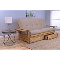 Phoenix Full Size Sofa Futon and Drawer Set, Butternut Wood Frame and Suede Innerspring Mattress, Peat
